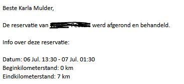 Meldingen via email na iedere rit